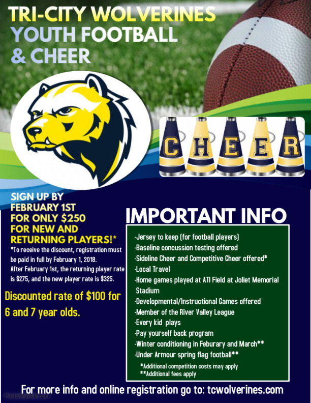 2018 Tri-City Wolverines Youth Football and Cheer Spring Registration