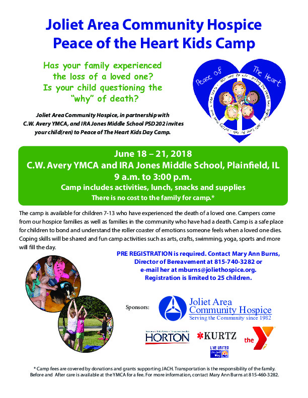 Joliet Area Community Hospice Peace of the Heart Kid Camp