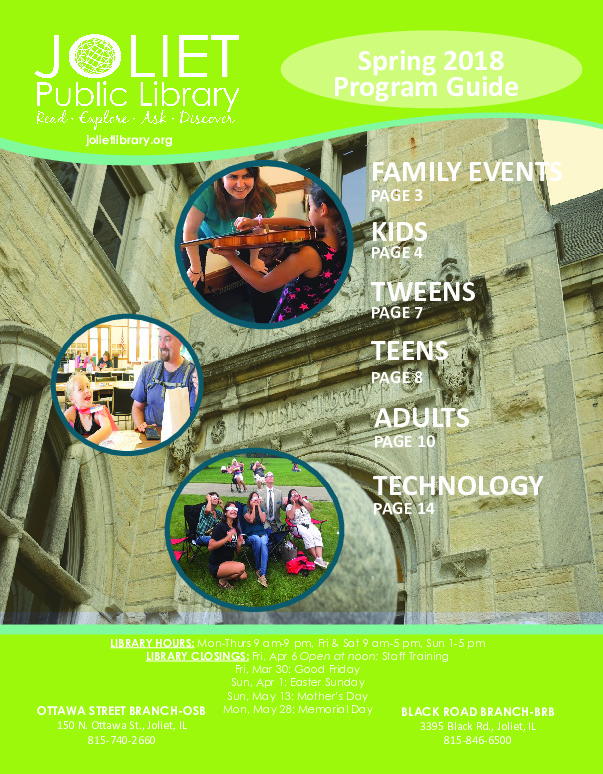 Joliet Public Library Spring 2018 Program Guide (English)
