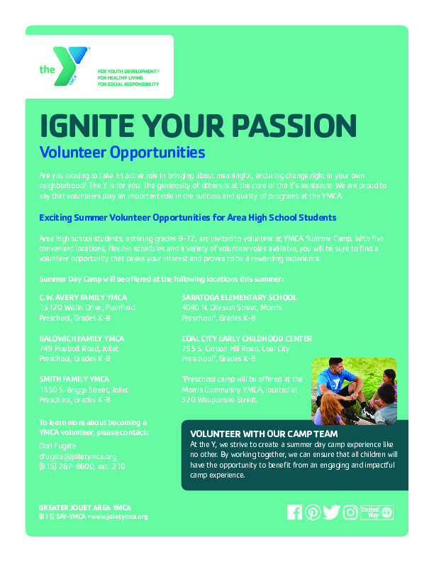 Teen Volunteers Opportunities at the YMCA
