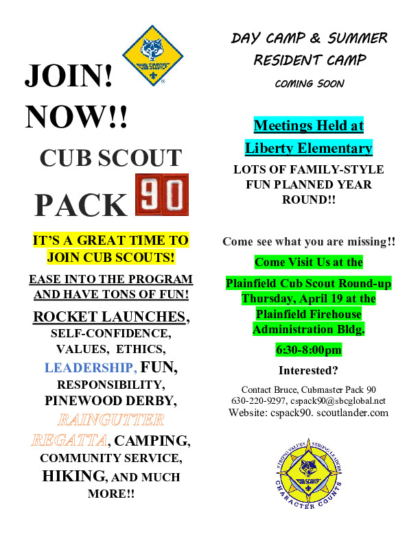 JOIN CUB SCOUT PACK 90