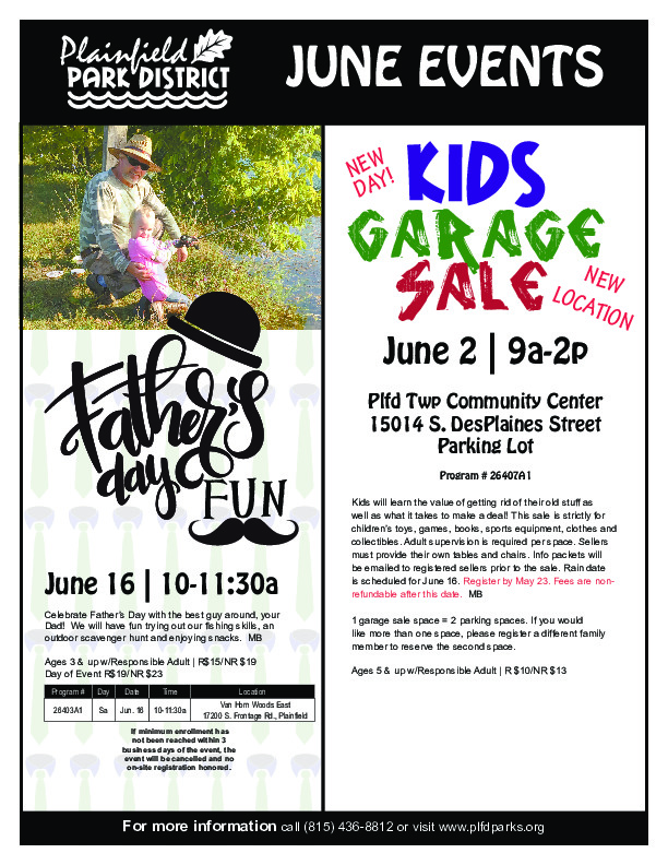 June Events: Plainfield Park District