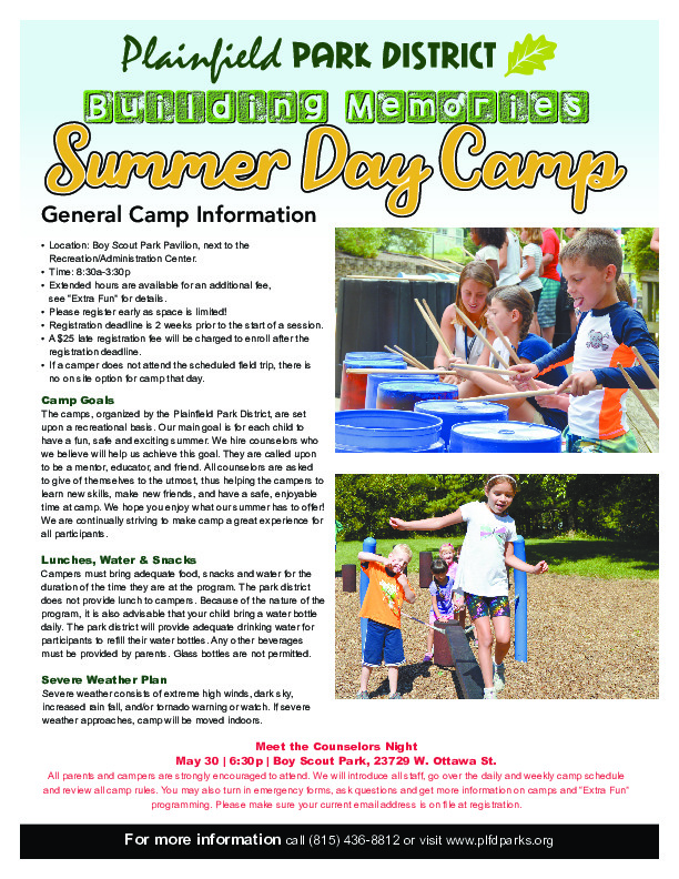 SUMMER CAMP: Plainfield Park District