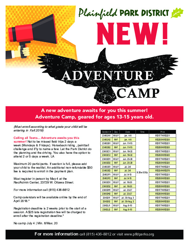 ADVENTURE CAMP AGES 13-15: Plainfield Park District
