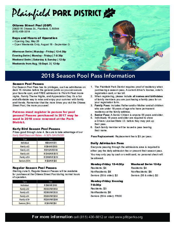 Pool Pass Season is Here: Plainfield Park District