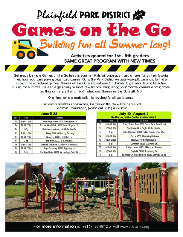 Games on the Go: Plainfield Park District