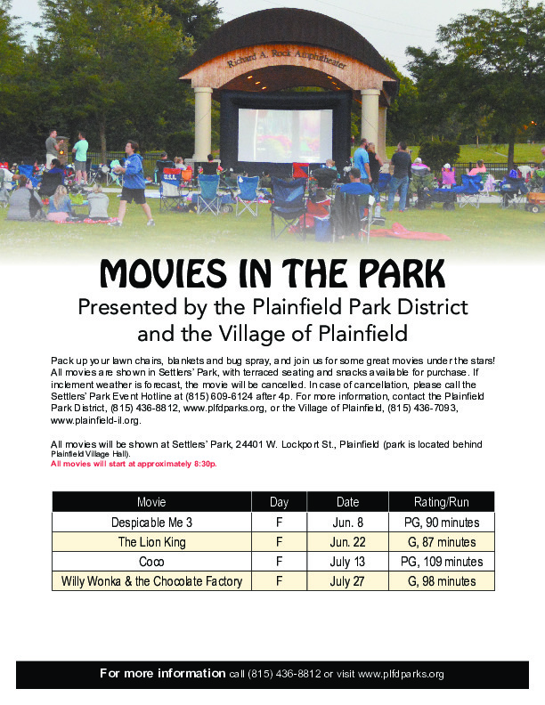 Movies in the Park: Presented by the Plainfield Park District and the Village of Plainfield