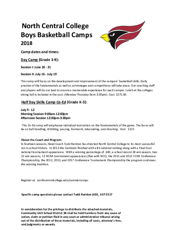 North Central College Basketball Camp