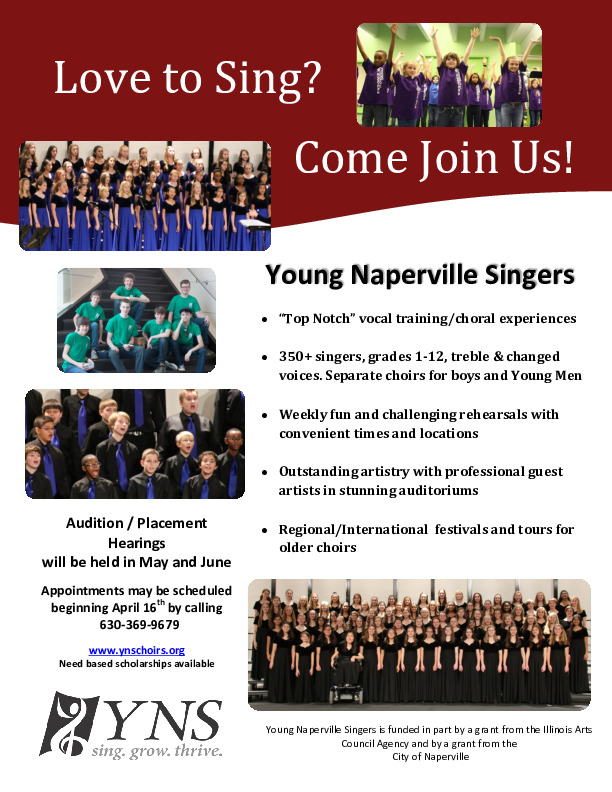 Young Naperville Singers-Auditions for 2018-19 Season!