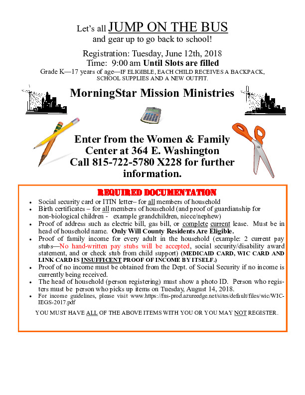 MorningStar Mission Jump On The Bus Back To School Program Registration = June 12 9:00am