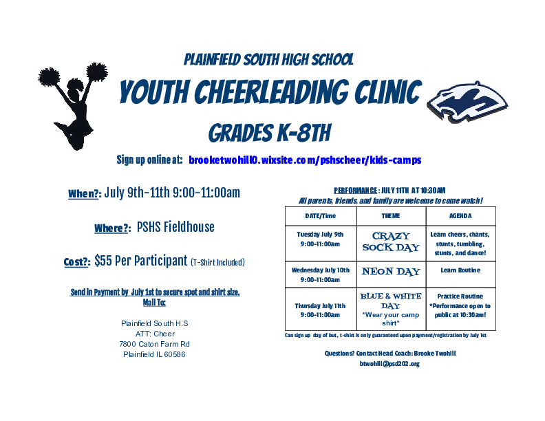 Summer Cheerleading Kids Camps (K-8) PSHS