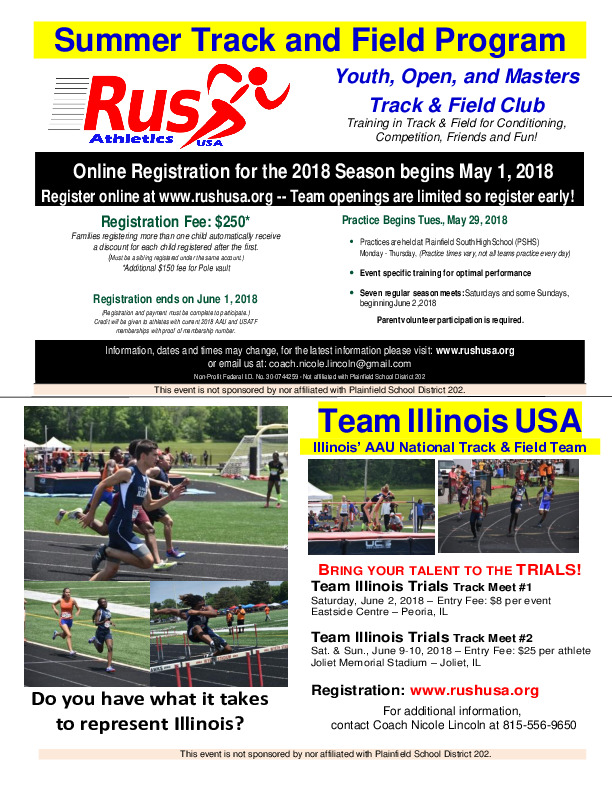 Rush Athletics  - Summer Track and Field