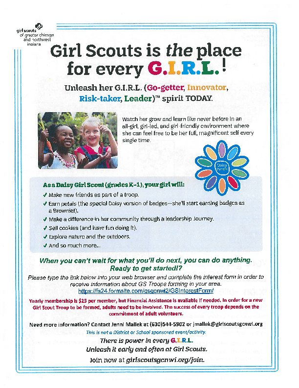 Girl Scouts Info for Kindergarteners