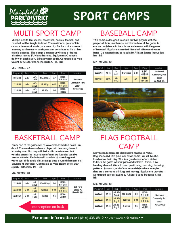 Sport Camps: Plainfield Park District