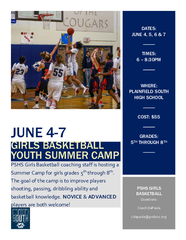 Girls Basketball: Plainfield South Summer Camp 5th through 8th Grade