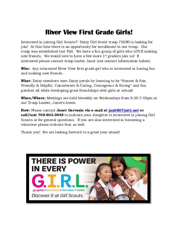 Girl Scouts - River View First Grade Girls