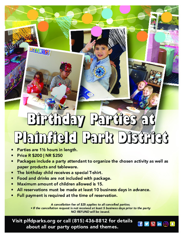 Birthday Parties at Plainfield Park District