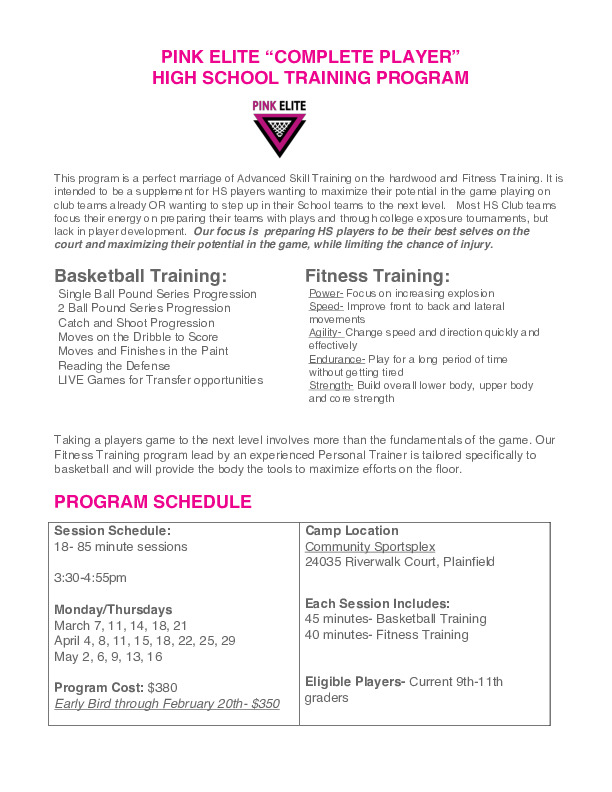 PINK ELITE HS Complete Player Training (9th-11th grade)