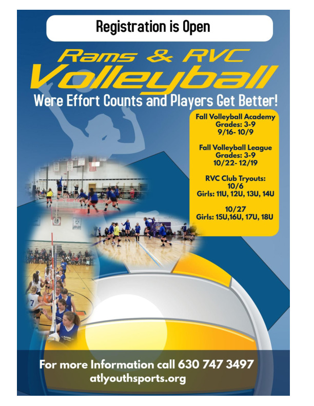 Rams and RVC Club Volleyball Fall Registration