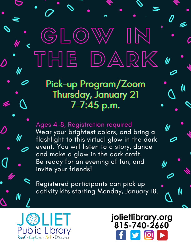Glow in the Dark Event Via Zoom with the Joliet Public Library