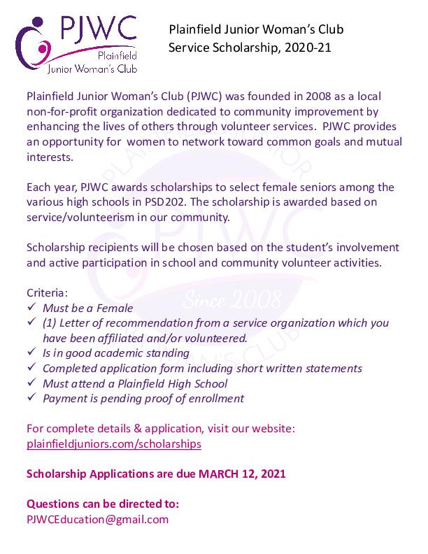 Plainfield Junior Women's Club Accepting Applications