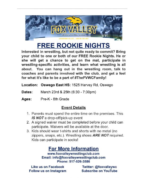 Free Wrestling Rookie Nights