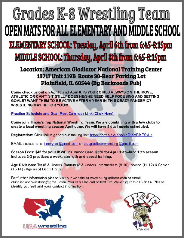 Wrestling Opportunity April-June for kindergarten to 8th Grade Athletes for Boys and Girls