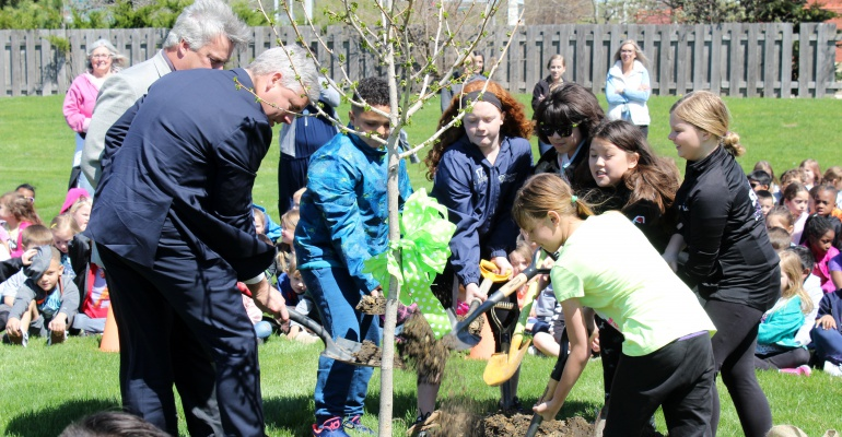 Grand Prairie Elementary School plants a tree for Arbor Day