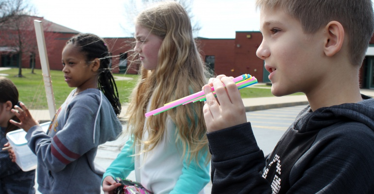 Walker's Grove Elementary School fifth graders play their homemade instruments