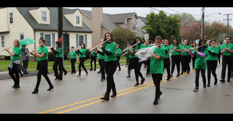 Middle school Green Machine Marching band at Homecoming Parade, 09.28.2019