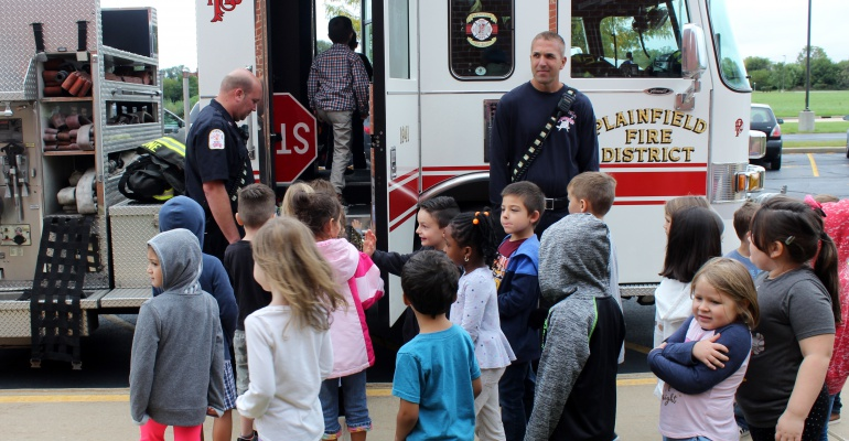 Plainfield firefighters visit kindergartners at Central Elementary School, 10.2019