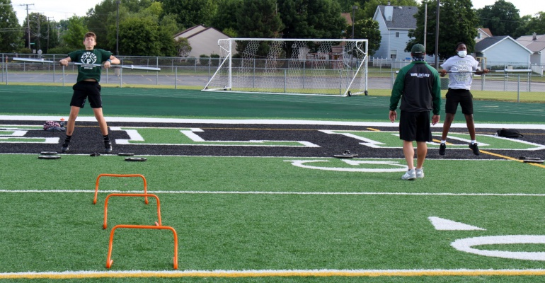 Football conditioning workouts begin at Plainfield High School-Central Campus